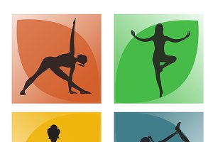yoga poses, vector