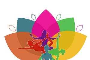 lotus, yoga, poses, vector