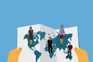 hands world map business