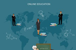 online education, vector