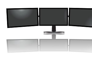 three wide monitor, triple, vector