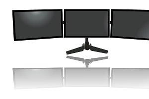 triple monitors, tv, flat
