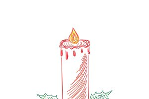 Christmas candle, sketch