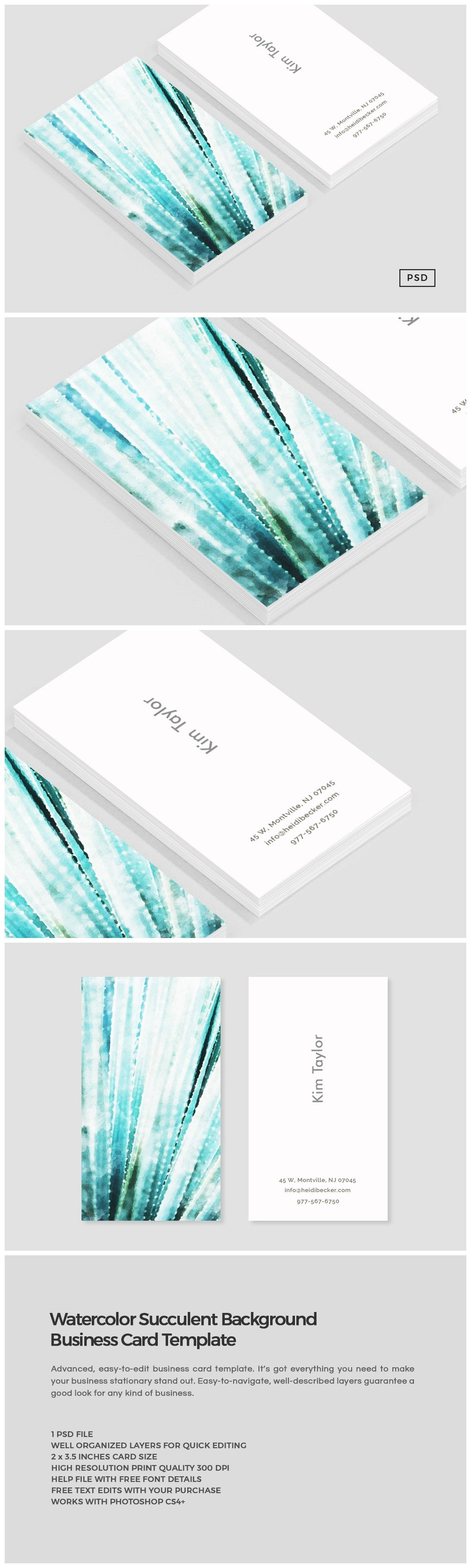 Watercolor succulent business card business card templates watercolor succulent business card business card templates creative market reheart Gallery