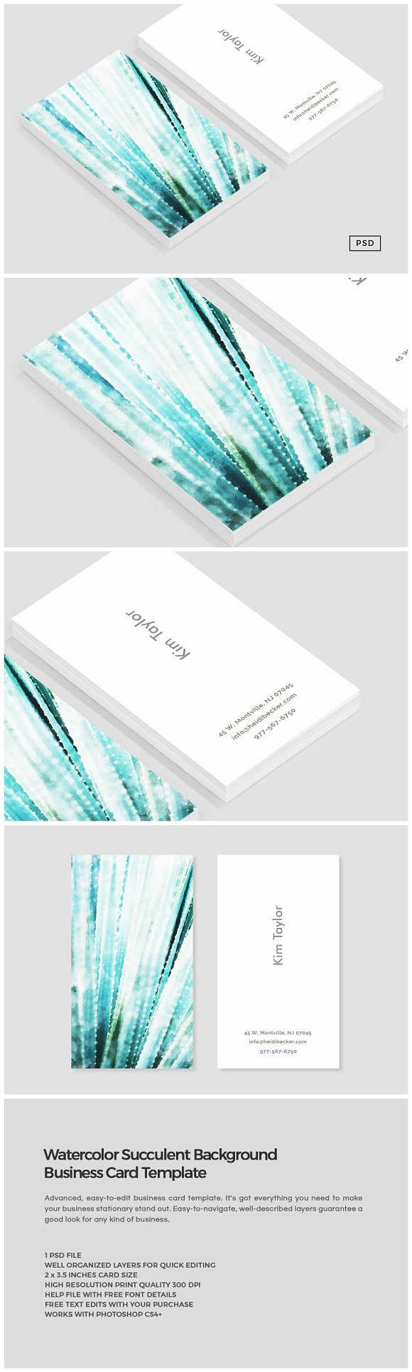 Watercolor succulent business card business card templates watercolor succulent business card business card templates creative market reheart Image collections
