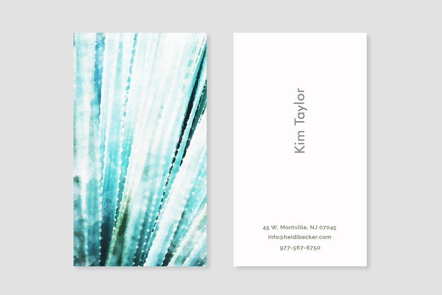 Watercolor Succulent Business Card