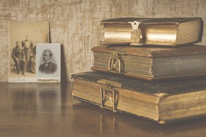The stylized photo of the old albums
