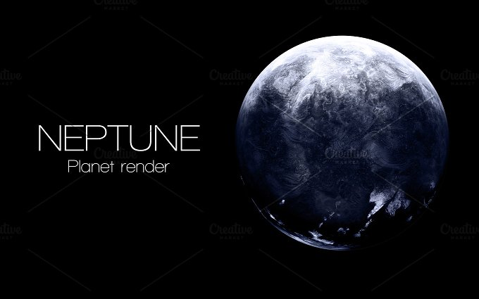 Neptune - High resolution 3D images presents planets of the solar system. This image elements furnished by NASA. - Education