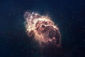 Nebula and stars in deep space, glowing mysterious universe. Elements of this image furnished by NASA