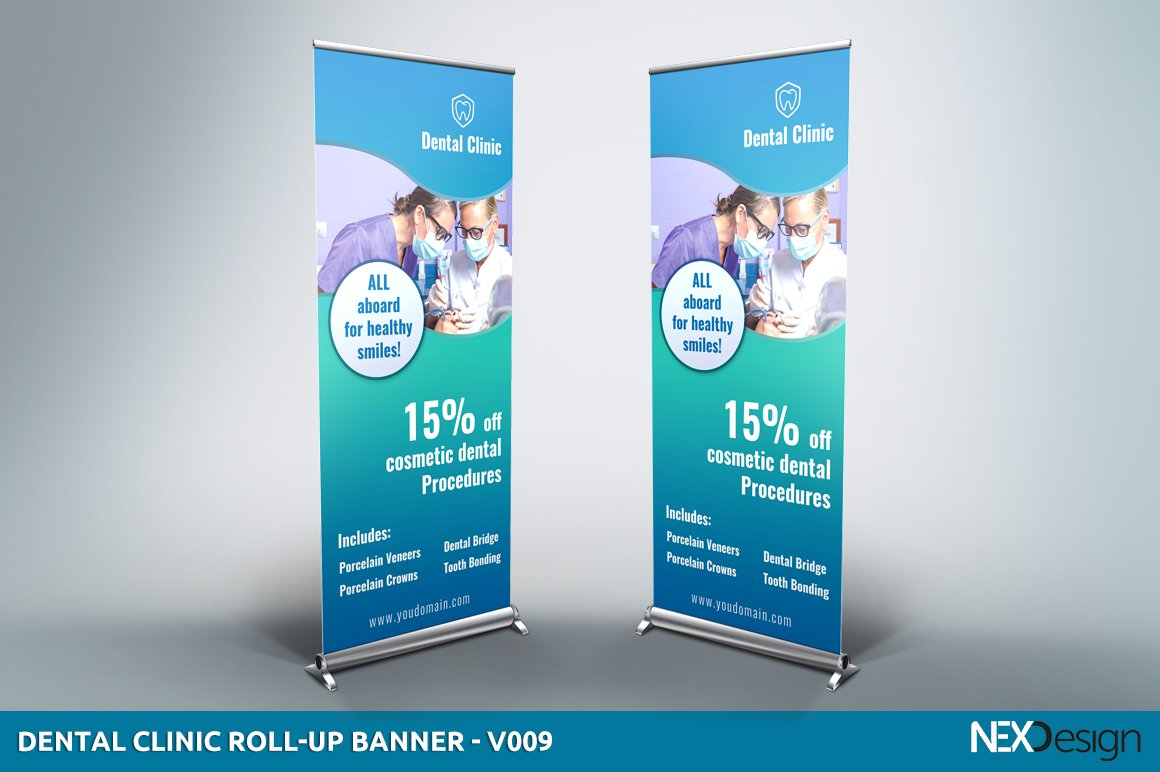 Dental Clinic Roll Up Banner Sb Presentation Templates