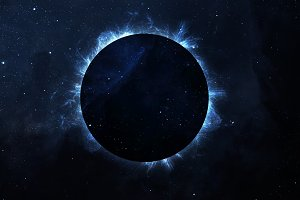 Solar Eclipse Above a Nebula. Elements of this image furnished by NASA