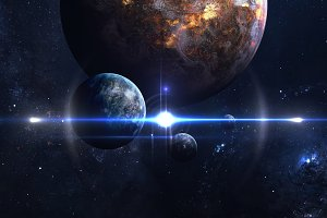 Planets over the nebulae in space. This image elements furnished by NASA