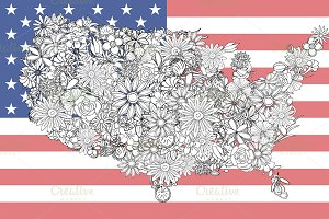 Map of the United States of flowers