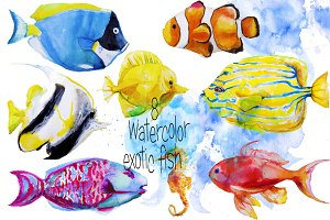 set with watercolor exotic fish