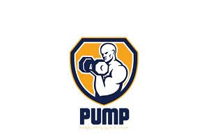 Pump Bodybuilding Gym Logo