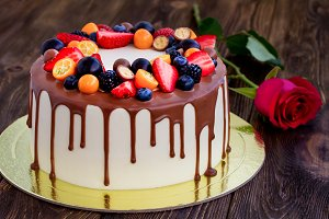 Chocolate cake with various berries