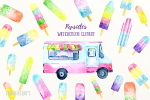 Watercolor Clipart Popsicles