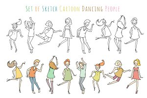 Sketch dancing people set