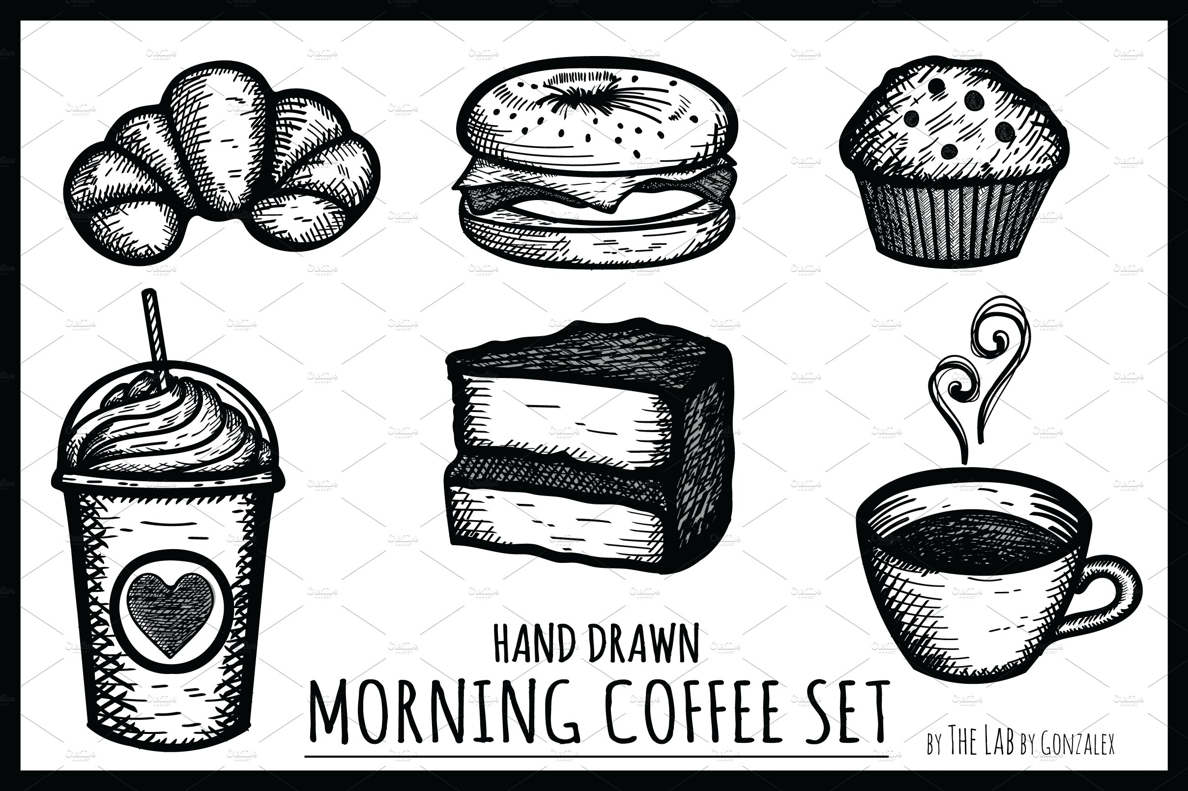 sample invitation letter morning coffee icon set icons creative market 24611 | black