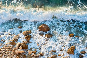 Rocky sea beach, background
