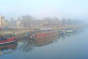 Ships on a misty river
