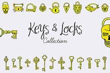 Keys & Locks set. EPS, JPG.