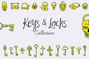 Keys & Locks set. EPS, JPG.