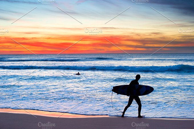 Surfer at sunset. Portugal - Sports