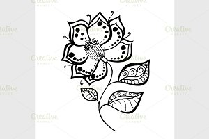 Hand Drawn Sketch of abstract flower