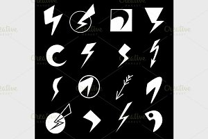 Set of lightning icons
