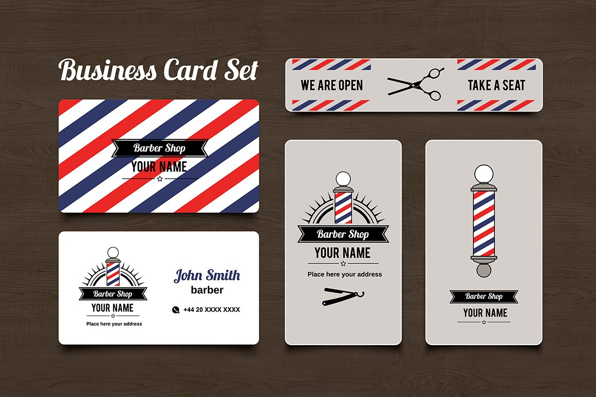 Barber shop business card set business card templates creative barber shop business card set business card templates creative market flashek Choice Image
