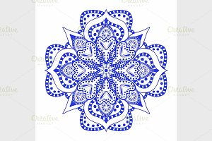 Round blue floral ornament