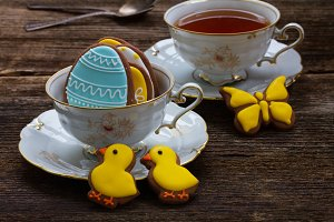 Cup with easter cookies