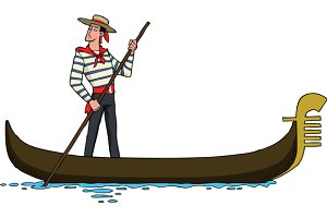 Cartoon gondolier on a gondola