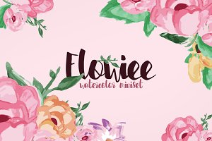 Flowiee Exotic Watercolor Flower set