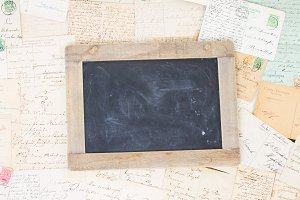 Old mail with blank blackboard