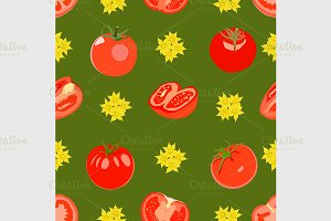 pattern with tomatos.