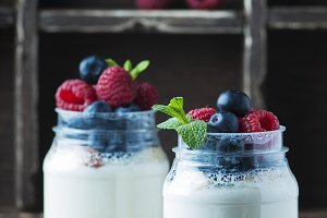 Homemade yogurt with berry
