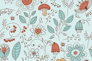 Vector Seamless Floral Summer Doodle