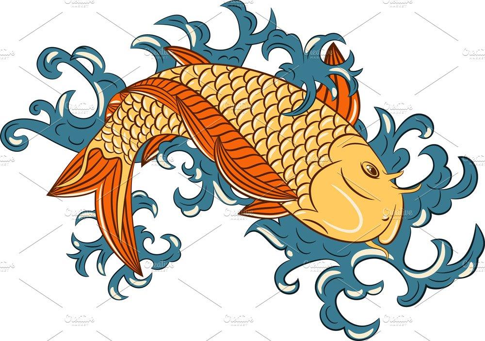 Japanese Style Koi Carp Fish Illustrations Creative