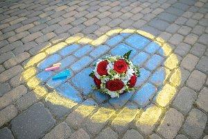 Painted heart asphalt