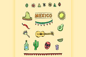 vector set of mexican symbols