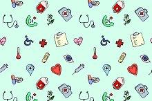 Seamless pattern medical icons set