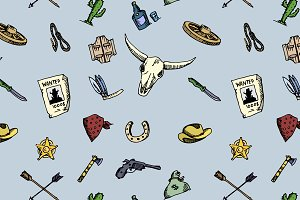 pattern Wild West icons set