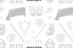 Hand drawn hockey icons pattern