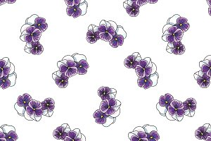 pattern with vintage pansies flower
