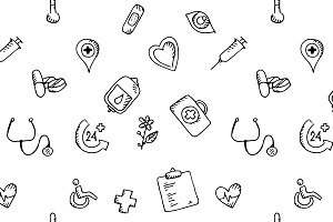 Seamless pattern medical icons set