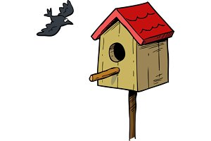 Birdhouse with bird