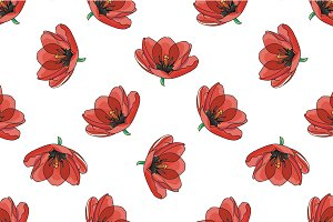 Red tulips pattern.