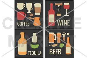 Wine, coffee, beer, tequila icon